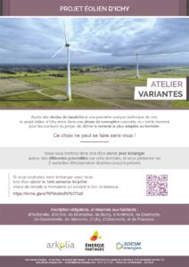 Affiche annonçant l'atelier Variantes et impacts du 4 juillet 2019 pour le projet éolien citoyen d'Ichy