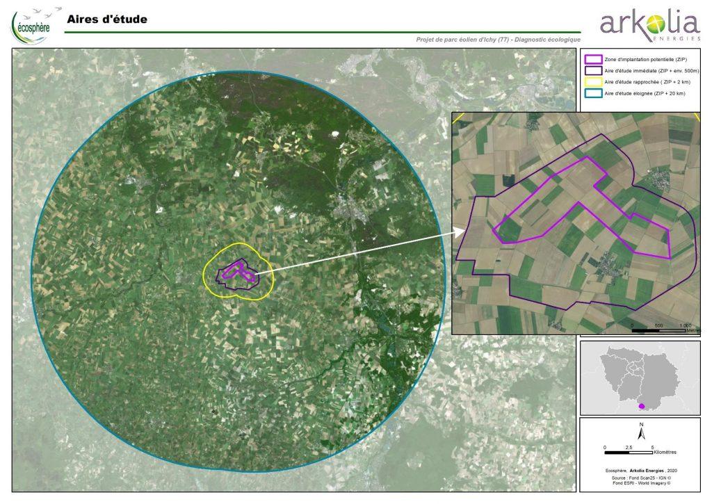 Aire des études écologiques sur le projet éolien d'Ichy