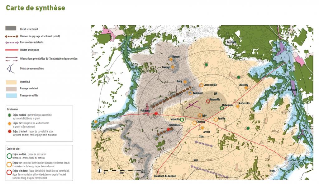 Carte de synthèse de l'étude paysagère